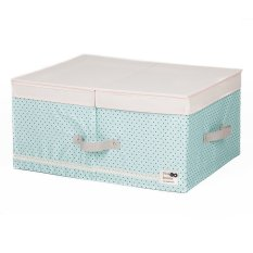 New Art Design Wommen' Fashion Cosmetic Clothing Storage Box Double Barrier Double Cover Beauty Case Boxes For Home 48x36x18cm (Light Blue) - Intl