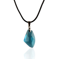New Blue Wishing Stone Crystal Pendant Necklace Adjust Length Leather Chain (Intl)