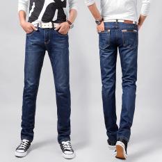 New Casual Men's Jeans Slim Fit Men Pant Personality Pockets Fashion Jeans Men Straight Plus Size 28~38 Hombre Pantalones -dark Blue (Intl)