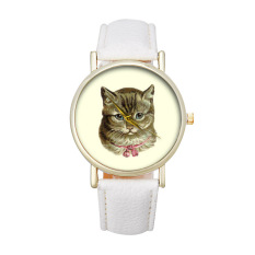 New Cat Pattern Women's Watch Fashion Cute Printed Girl Dress Watches (White)