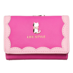 New Clutch Checkbook Metal Cat Change Coin Bag Women Purse Ladies Handbag Wallet Rose Red