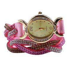 New Design 2016 New Arrive Reloj Mujer Rhinestone Relogio Watches Quartz Watch Women Dress Watch Ladies Dress Reloj Pink (Intl)