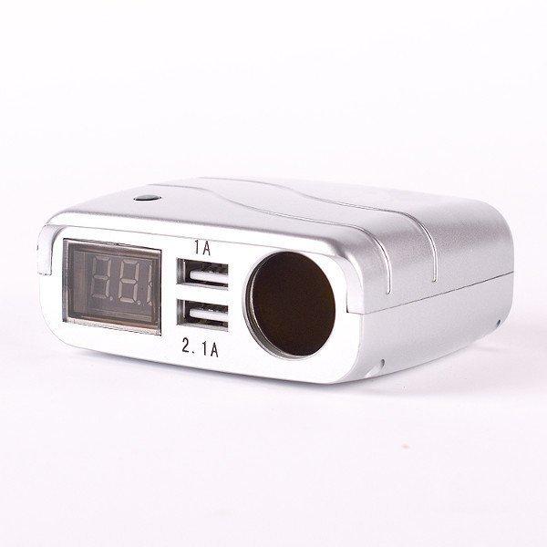 New Double USB Car Charger Cigarette Lighter Socket Digital Display Voltage Silver (Intl)