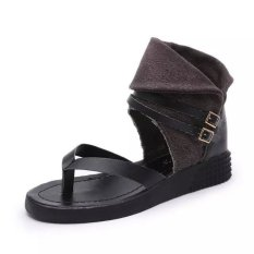New European Flip Flat Sandals + Roman Style Flat Toe Shoes Large Size Shoes (Black) (Intl)