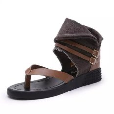 New European Flip Flat Sandals + Roman Style Flat Toe Shoes Large Size Shoes (Brown) (Intl)