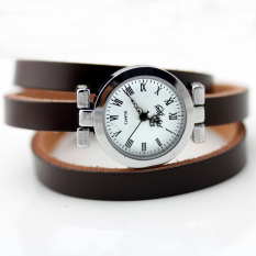 New Fashion Hot-selling Women's Long Leather Female Watch ROMA Vintage Watch Women Dress Watches (Brown)
