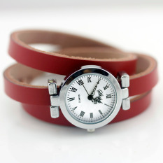 New Fashion Hot-selling Women's Long Leather Female Watch ROMA Vintage Watch Women Dress Watches (Red)