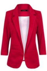 NEW FASHION Women Casual Candy Color Blazers Korean Style Office Lady Slim Small Suit Jackets Coats Tops (Wine Red) (Intl)