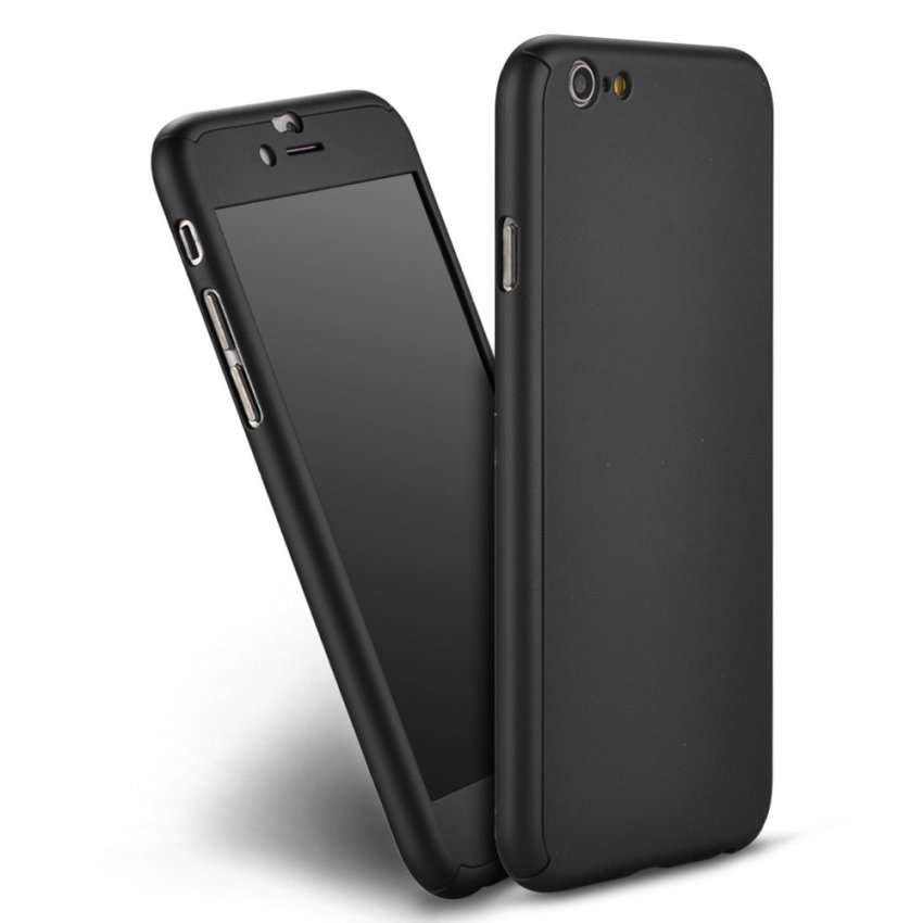 New Front +Back Hard Case Cover Full Body W/Tempered Glass for iPhone 6/6S Black (Intl)