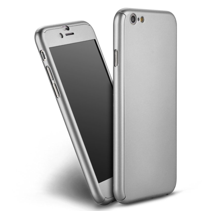 New Front + Back Hard Case Full Body with Tempered Glass for iPhone 6S Plus Silver (Intl)