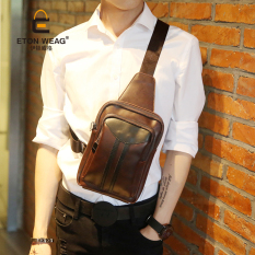 New Single Shoulder Bag Men Chest Bag Crossbody Bag Sports Small Bag Cool Bag Brand Design Design Old School Korean Men's Handbag -Coffee