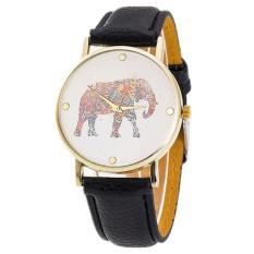 New Women Elephant Printing Pattern Weaved Leather Quartz Dial Watch Black Free Shipping