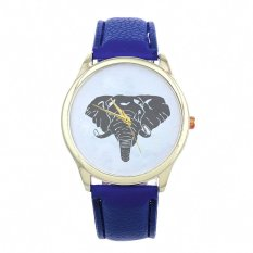 New Women Elephant Printing Pattern Weaved Leather Quartz Dial Watch Dark Blue