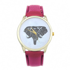 New Women Elephant Printing Pattern Weaved Leather Quartz Dial Watch Hot Pink (Intl)