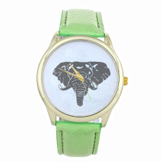 New Women Elephant Printing Pattern Weaved Leather Quartz Dial Watch Mint Green