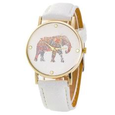 New Women Elephant Printing Pattern Weaved Leather Quartz Dial Watch White Free Shipping