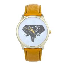 New Women Elephant Printing Pattern Weaved Leather Quartz Dial Watch (Yellow) (Intl)