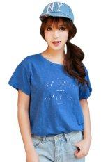 New Women Korean Printing Loose Slub Washing Cotton Loose T-shirt Blue (Intl)