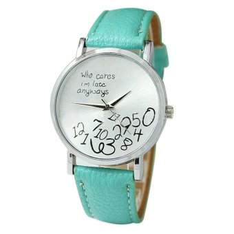 New Women Leather Watch Who Cares I Am Late Anyway Letter Watches Sky Blue