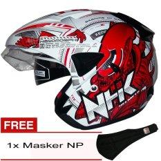 NHK Predator 2 Visor Alien - Putih Merah + Gratis Masker NP