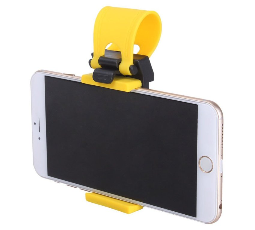 niceEshop Car Steering Wheel Mobile Phone Holder Mount Clip for iPhone 5 5G 4 4S Samsung Galaxy (Black and Yellow) (Intl)