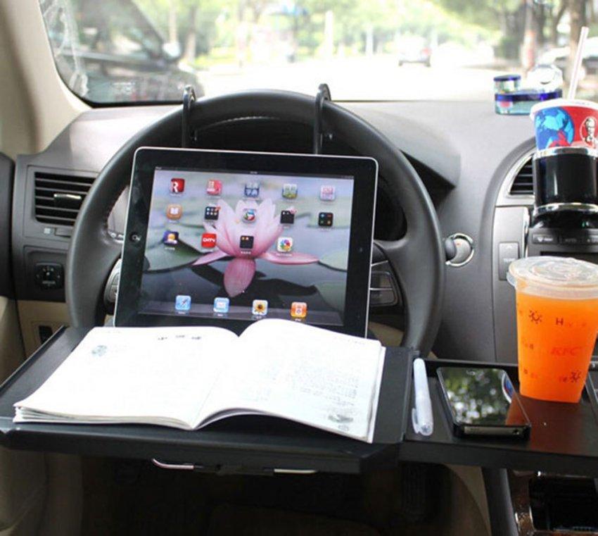 niceEshop Drawer Style Car Laptop Table (Black)