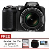 Nikon Coolpix L340 - 20.2 MP - 28x Optical Zoom - Hitam + Gratis SD Card 8Gb + Antigores + Tas Semipro