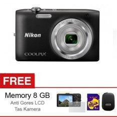 Nikon Coolpix S-2900 - 20 MP - 5x Optical Zoom - Hitam + Gratis Memory 8 GB + Anti Gores LCD + Tas Kamera