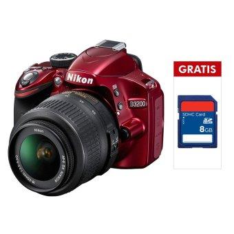 Nikon D3200 - 24.2 MP - Lensa Kit 18-55mm + Memori SDHC 8 GB
