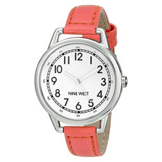 Nine West Women's NW / 1699WTCO Easy-To-Read Watch With Coral-Tone Strap (Intl)