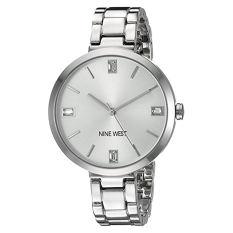Nine West Women's NW / 1829SVSB Crystal Accented Silver-Tone Bracelet Watch - Intl