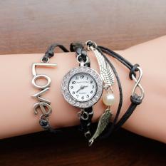 Nonof 2016 Brand Watches Women Rhinestone Creative PU Leather Strap Wristwatch Fashion Dress Bracelet Quartz Watch Shock Clock Gift (Black Love)