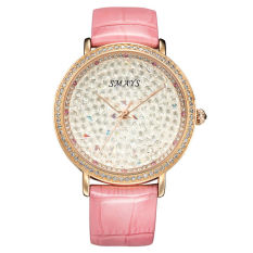 Nonof Best Charm SMAYS Starry Korean Fashion Watches Ladies Watches Quartz Analog Watch Female Epidermis Strap Section 1206 C With Rose Pink Box