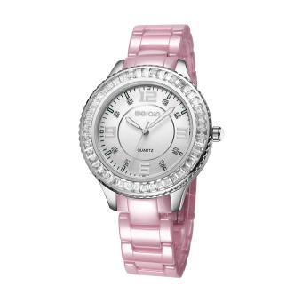 Nonof WEIQIN Fashion Rhinestone Watches Women Rose Gold White Ceramic Bracelet Quartz Watch Girl Ladies Dress Wirstwatch (Pink Silver)
