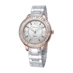 Nonof WEIQIN Fashion Rhinestone Watches Women Rose Gold White Ceramic Bracelet Quartz Watch Girl Ladies Dress Wirstwatch (White Rose Gold)