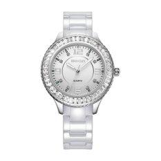 Nonof WEIQIN Fashion Rhinestone Watches Women Rose Gold White Ceramic Bracelet Quartz Watch Girl Ladies Dress Wirstwatch (White Silver)