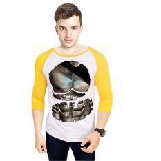 NSClothing Kaos 3D Six Pack Gold Raglan Putih Kuning - Putih Kuning