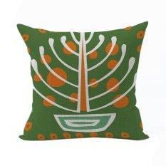 Nunubee Vintage Cotton Pillowcase Decorative Cushion Cover Square Home Pillowcase For Sofa Green - Intl