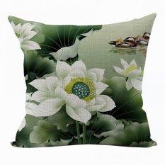 Nunubee Vintage Flower Pillow Cases Cotton Linen Cushion Cover Home Pillowcase Lotus Throw Pillow Style 10 - Intl