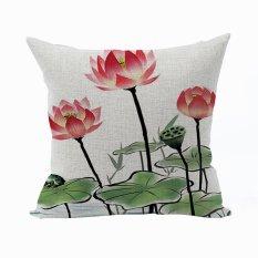 Nunubee Vintage Flower Pillow Cases Cotton Linen Cushion Cover Home Pillowcase Lotus Throw Pillow Style 11 - Intl