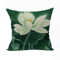 Nunubee Vintage Flower Pillow Cases Cotton Linen Cushion Cover Home Pillowcase Lotus Throw Pillow Style 3 - Intl