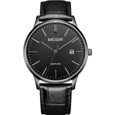 Oanda MEGIR Genuine Leather Belt Business Men Watch Waterproof Retro Leather Men's Quartz Watch (Black)