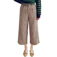 OASAP Fashion Stripe Printed Zipped Wide Leg Cropped Pants (Coffee)
