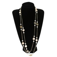 OEM Classic Elegant Pendant Chain Pearl Rose Necklace Long Sweater Chain Jewerly (Intl)