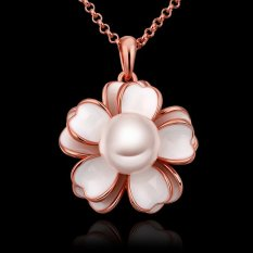 OEM Laides Pearl Necklace Jewerly 18K Rose Gold Plated Party Wedding Gifts (Intl)