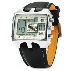 OHSEN AD0930 Men Sports Watches Fashion Military Digital Quartz Leather Band Waterproof Dive Clock Men's Watch Relogio Masculino (White) - INTL