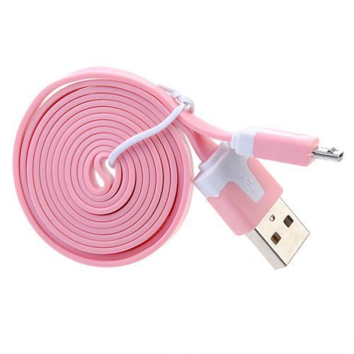 Okdeals Micro USB Noodle Charger Cable for HTC Samsung 2M Pink
