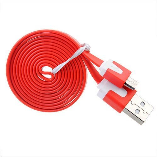 Okdeals Micro USB Noodle Charger Cable for HTC Samsung 2M Red