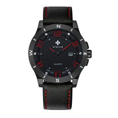 Ooplm Foreign Trade Explosion Mens Sports Leather Watchband Mens Watch Matte Black Calendar Waterproof Quartz Watch Wholesale