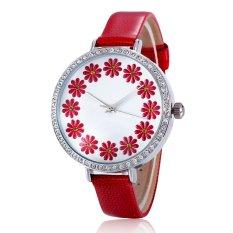 Ooplm Hot Selling Leather Geneva Rose Flower Watch Luxury Brand Solid Analog Rhinestone Watch Women (Green)